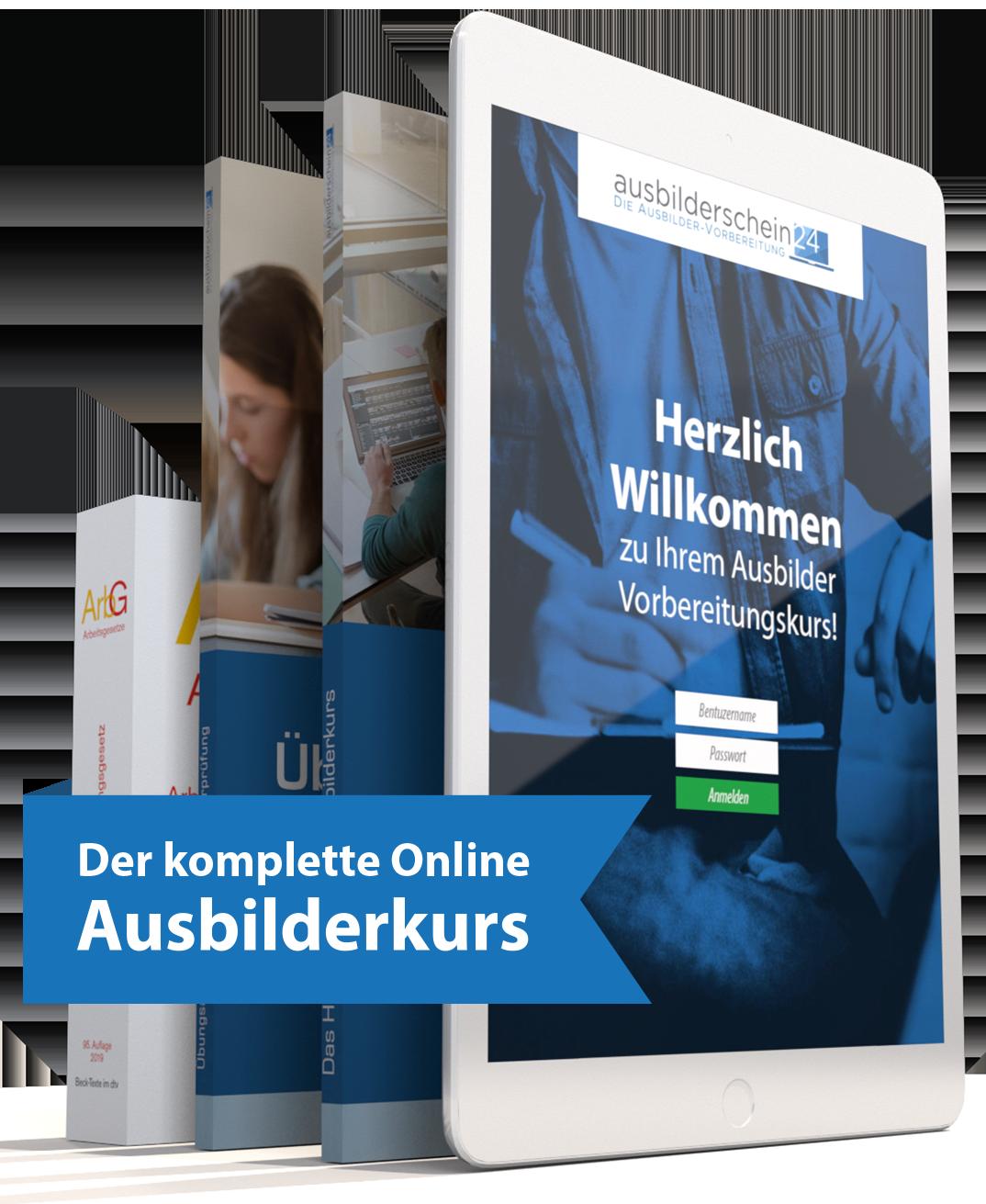 Online Ausbilderkurs Angebot Inhalt mit ArbG, Übungsheft, Handbuch und Onlinekurs